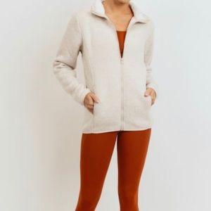 White Sherpa Fleece Jacket